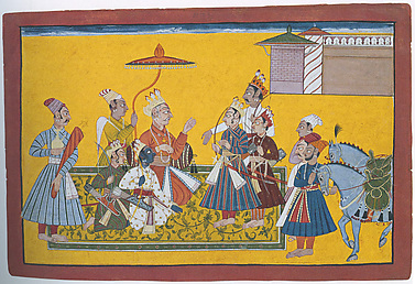King Dasaratha Bids Farewell to His Sons Bharata and Shatrughna