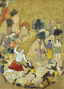 A Giant Demon, possibly Atikaya, Confronts Rama's Army