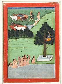The Gopis Pleading with Krishna to Return Their Clothes: Folio from a Bhagavata Purana Series