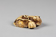 Netsuke of Beaver in Lotus Pond