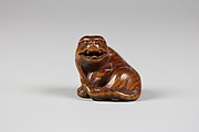 Netsuke of Tiger with Head Turned, Snarling