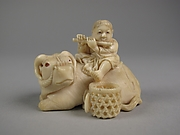 Netsuke of Ox with Bokudo