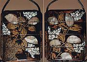 Case (Inrō) with Design of Flowering Hagi beside a Brushwood Fence