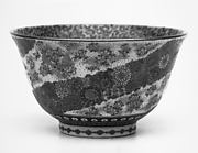 Small Bowl with Design of Diagonally Banded Millefleurs on Exterior and Butterflies on the Interior