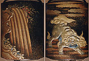 Case (Inrō) with Design of Lion (obverse);  Waterfall (reverse)