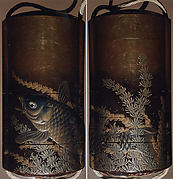 Case (Inrō) with Design of Large Carp Swimming among Seaweeds