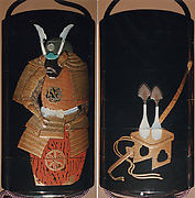Case (Inrō) with Design of a Suit of Armor (obverse); Flasks for Boys Festival (reverse)