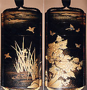 Case (Inrō) with Design of Birds in Flight above Flowering Iris (obverse); Butterflies above Flowering Peony (reverse)