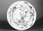 Plate with Flower and Bird Decor