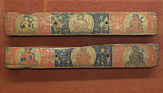 Pair of Manuscript Covers: Prajnaparamita Flanked by Bodhisattvas (above); Vajrasattva(?) Flanked by Bodhisattvas (below)