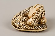 Netsuke of Coiled Dragon Enclosing a Pearl