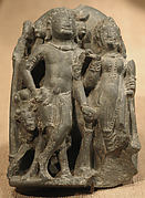 Section of a Diptych in Linga Form, Interior Depicting Shiva, Parvati, and the Calf Bull