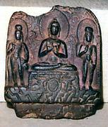 Miniature Stele with Sakyamuni Buddha Flanked by the Bodhisattvas Maitreya and Padmapani