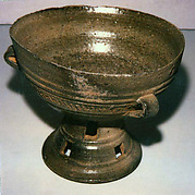 Pedestalled Bowl with Three Handles and Combed Design