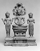 Naga-Protected Buddha Flanked by Avalokiteshvara and Prajnaparamita