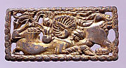 Belt Buckle with Wolf and Ram