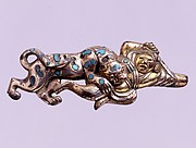 Belt Hook in the Shape of a Warrior and a Leopard