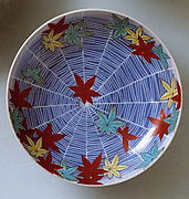 Dish with Design of Maple Leaves and Spider Web