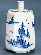 Octagonal Sake Bottle with Landscape Design
