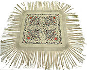 Square Export Shawl Embroidered with Four Scenes, Figures, Pavilions, Flowers and Birds