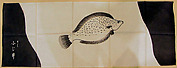 Towel (tenugui) with Pattern of Fish in Shades of Gray on White with Inscription in White on Gray