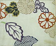 Piece from a Kosode with Chrysanthemums and Leaves