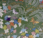 Piece from a Kosode with Ginkgo Leaves, Waves, and Butterflies