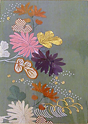Piece from a Kosode with Chrysanthemums and Waves