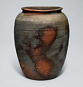Widemouthed Jar (Kame) with Wave Pattern