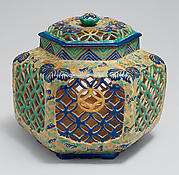 Lidded Brazier (Te-aburi) with Paulownia and Geometric Design