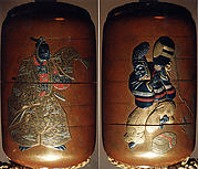 "Inrō with Kyōgen Dancer with Quiver from ""The Monkey Skin Quiver"" (obverse); Dancer with Fan and Sword (reverse)"