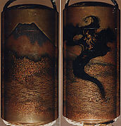 Case (Inrō) with Design of Dragon in Clouds Emerging from Waves before Mount Fuji
