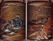Case (Inrō) with Design of God of Longevity (Jurōjin) and a Small Boy with a Tortoise (obverse); Pine Tree by Stream (reverse)