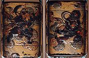 Case (Inrō) with Design of Bishamon on Clouds Pursuing Demon (Oni) Holding Sacred Gem