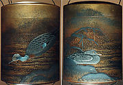Case (Inrō) with Design of Ducks beside Snow-Covered Reeds and Shore