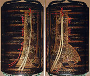 Case (Inrō) with Design of Curtains of State and a Woman's Fan