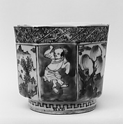 Hexagonal Cup with Chinese Figures and Landscapes