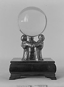 Crystal Ball on a Silver Stand composed of Three Figures