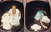 Case (Inrō) with Design of Old Man and Woman (Jo and Uba) and Pine Trees (from Noh Play