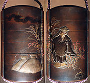 Case (Inrō) with a Fox from the Kyōgen Play The Fox Hunter (Tsurigitsune); Hunter behind Haystacks from the Kyōgen Play