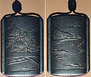 Case (Inrō) with Design of Mountain Landscape and Geese Flying