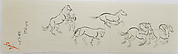 Sketch of Five Horses and Jockey