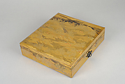 Box for Square Calligraphy Paper (shikishi-bako) with an Auspicious Landscape of Young Pines and Nandina Shrubs