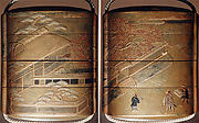 Case (Inrō) with Design of Persons Outside Building and Wall (obverse); With Flowering Cherry Trees (reverse)