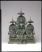 Enthroned Buddha Attended by the Bodhisattvas Avalokiteshvara and Vajrapani