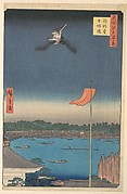 """Azuma Bridge from Komagatadō Temple,"" from the series One Hundred Famous Views of Edo (Meisho Edo hyakkei, Komagatadō Azumabashi)"