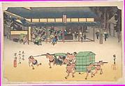 Kusatsu: Famous Post House (Kusatsu, Meibutsu tateba), from the series Fifty-three Stations of the Tōkaidō Road (Tōkaidō gojūsan tsugi no uchi)