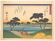 東海道五十三次 見附 天竜川舟渡し