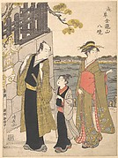 A Man with a Boy and a Geisha Visiting the Kinryusan Temple