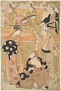 Onoe Matsusuke I as an Oiran Stands at the Left, Talking to Nakamura Nakazo I as a Samurai